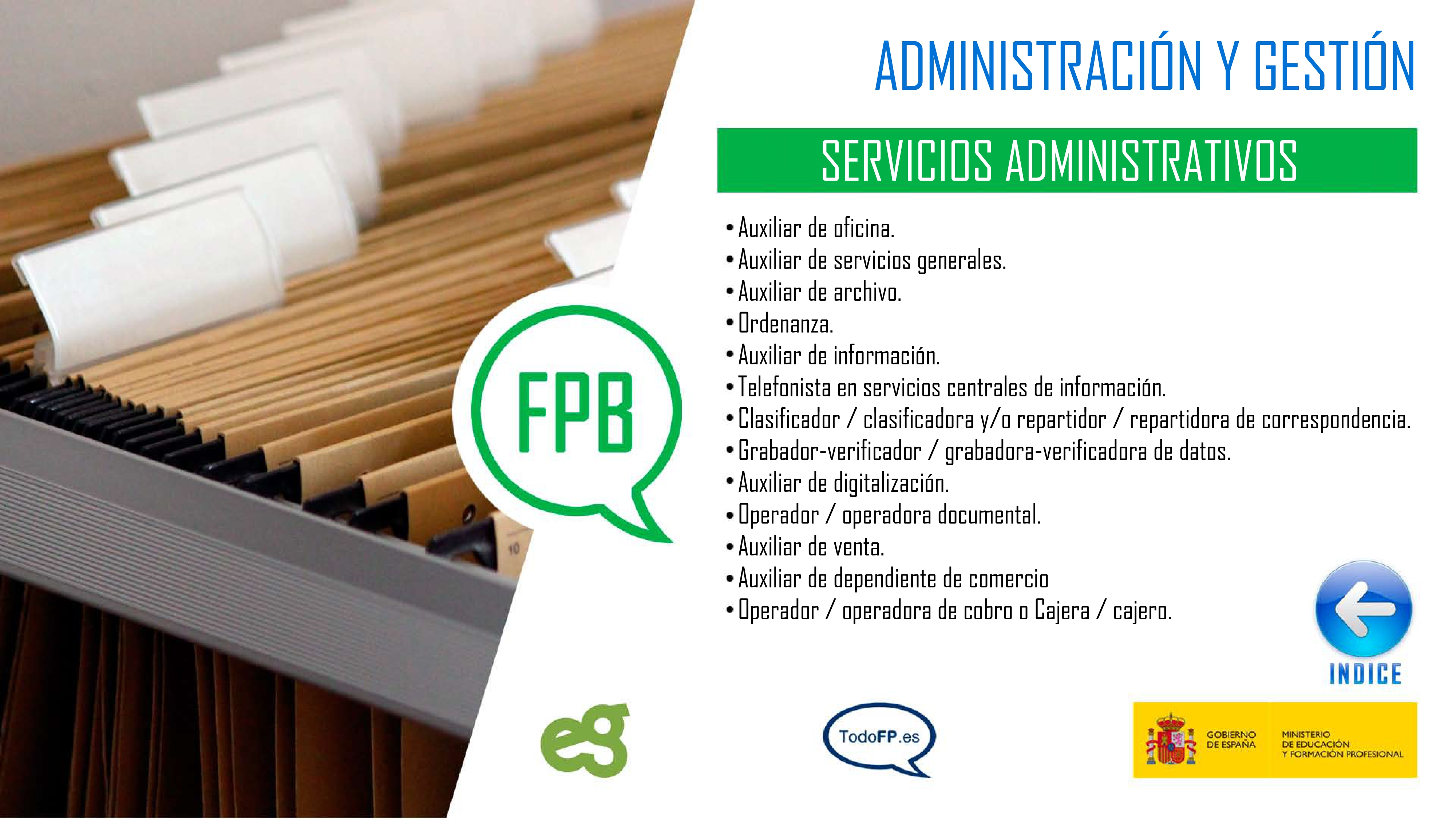 perfiles profesionales de Servicios Administrativos