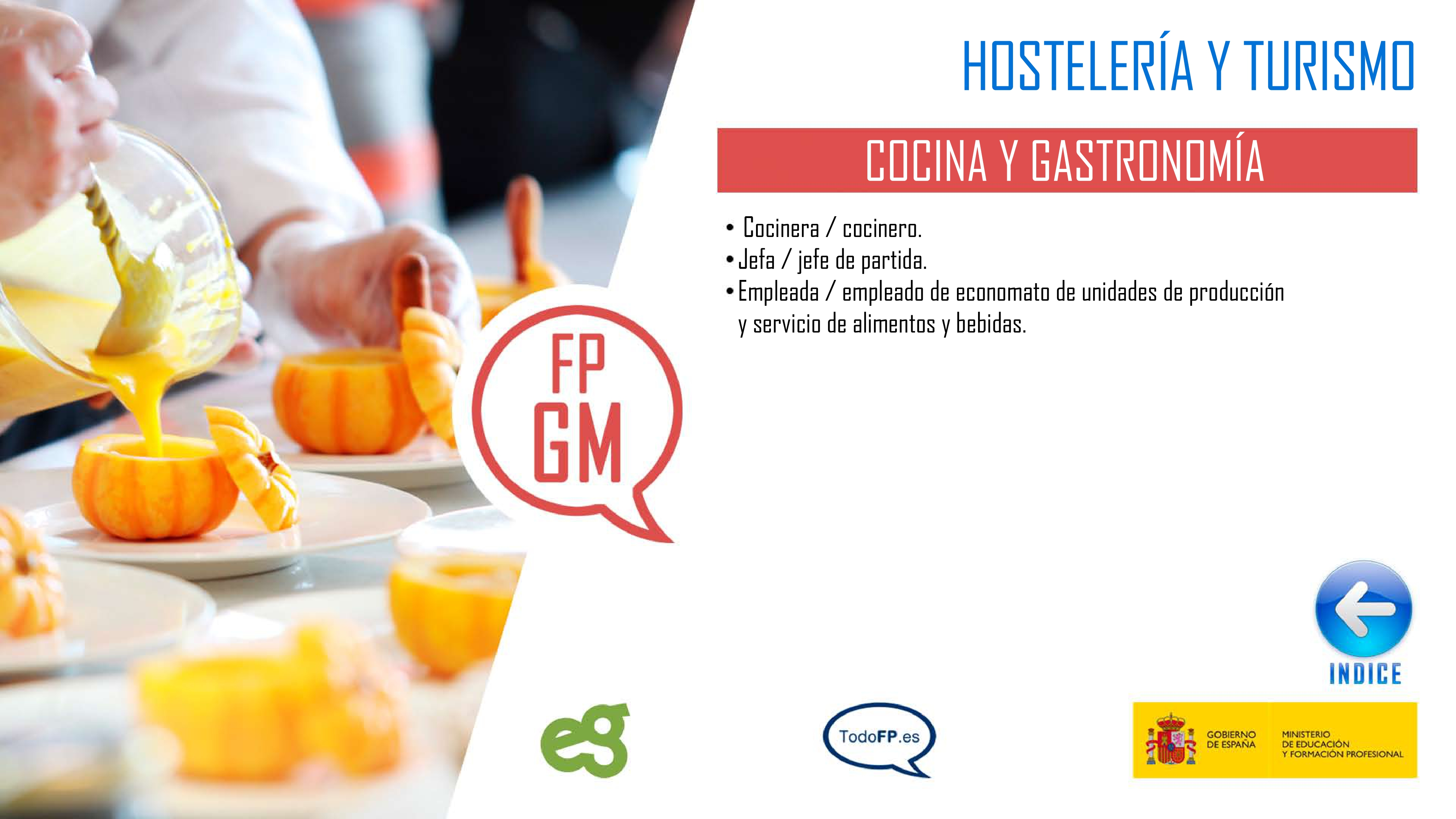 perfiles profesionales del ciclo formativo Cocina y Gastronomía
